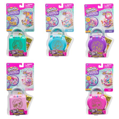 Shopkins Lil' Secrets Secret Lock Bundle Pretty Paws, Donut Shop, Make Up Salon, So Sweet Candy and Great Bakes Cupcakes