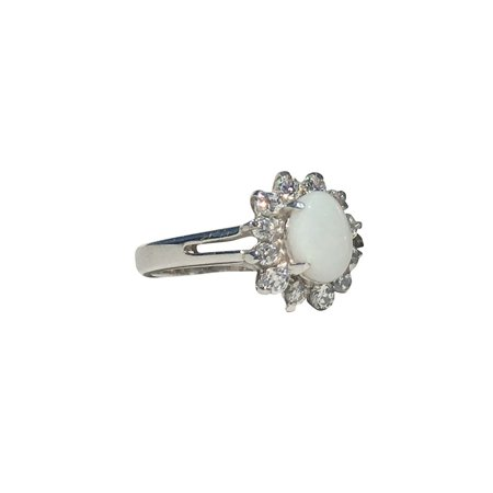 SPARKLING FLOWER  STERLING SILVER WHITE OPAL RING