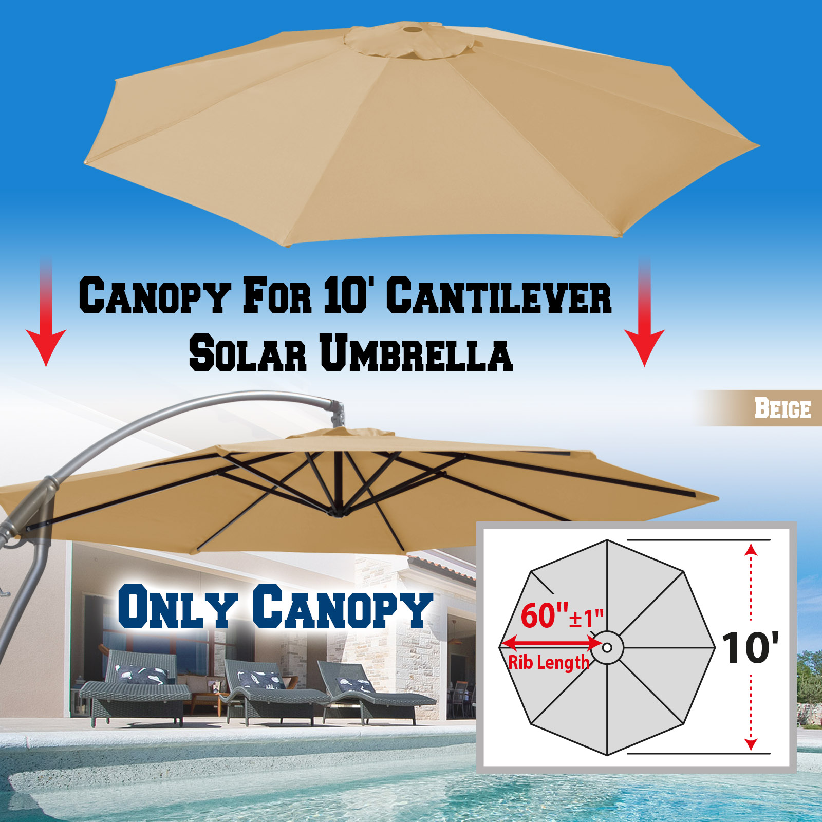 Strong Camel Replacement Umbrella Canopy for 10ft 8 ribs in Beige (Canopy Only)