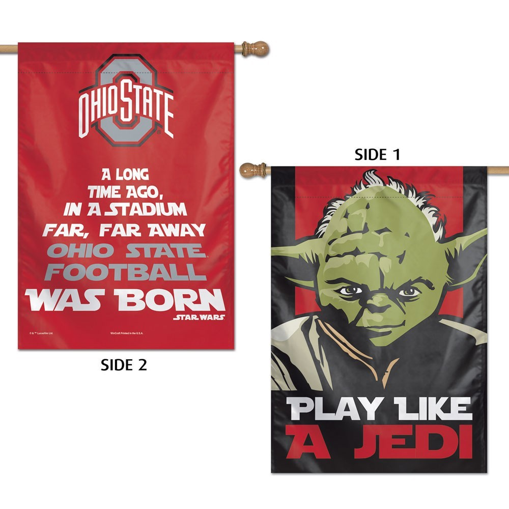 Ohio State Buckeyes Official NCAA 28 inch  x 40 inch  Star Wars Yoda Two Sided Vertical Flag by Wincraft