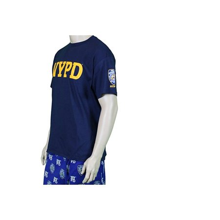 b4f97316f Nyc Factory - NYPD Short Sleeve Yellow Print with Sleeve Badge T-Shirt Navy  3Xl - Walmart.com