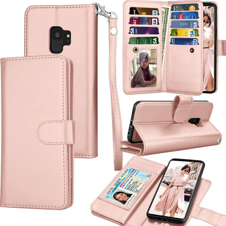 Galaxy S9 Case, Samsung S9 Wallet Case, Samsung Galaxy S9 PU Leather Case, Tekcoo Luxury Cash Credit Card Slots Holder Carrying Folio Flip Cover [Detachable Magnetic Hard Case] & Kickstand -Rose Gold (Hard Leather Carry Case)