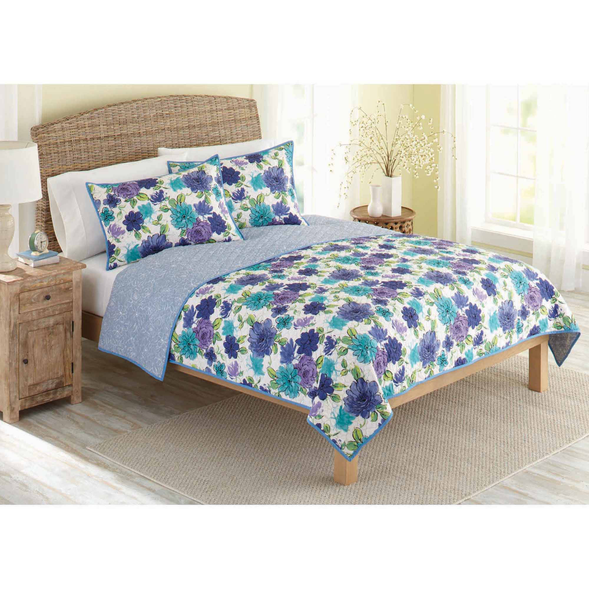 vcny casa re al multi colored reversible quilt set walmart com rh walmart com