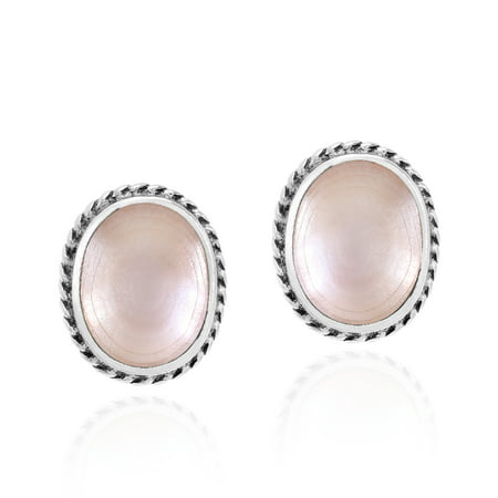 Oval Shell Earrings - Elegant Pink Mother of Pearl Ovals with Sterling Silver Border Stud Earrings