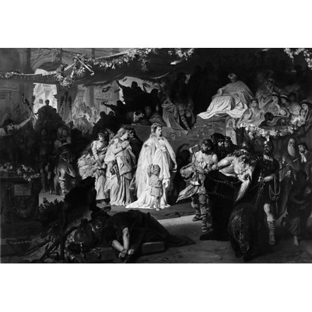 "Triumphal Entry - Thusnelda at the Triumphal Entry of Germanicus into Rome Poster Print by Karl Theodor von Piloty (German Munich 1826  ""1886 Ambach bei Munich) (18 x 24)"