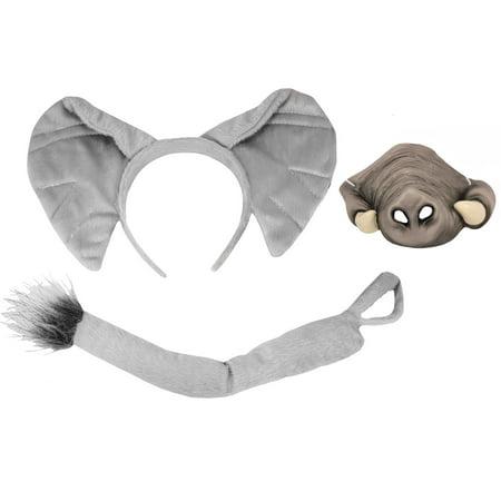 Velvet Elephant Ears Headband Tail Latex Trunk Tusk Nose Halloween Accessory Set (Miss Piggy Nose And Ears Set)