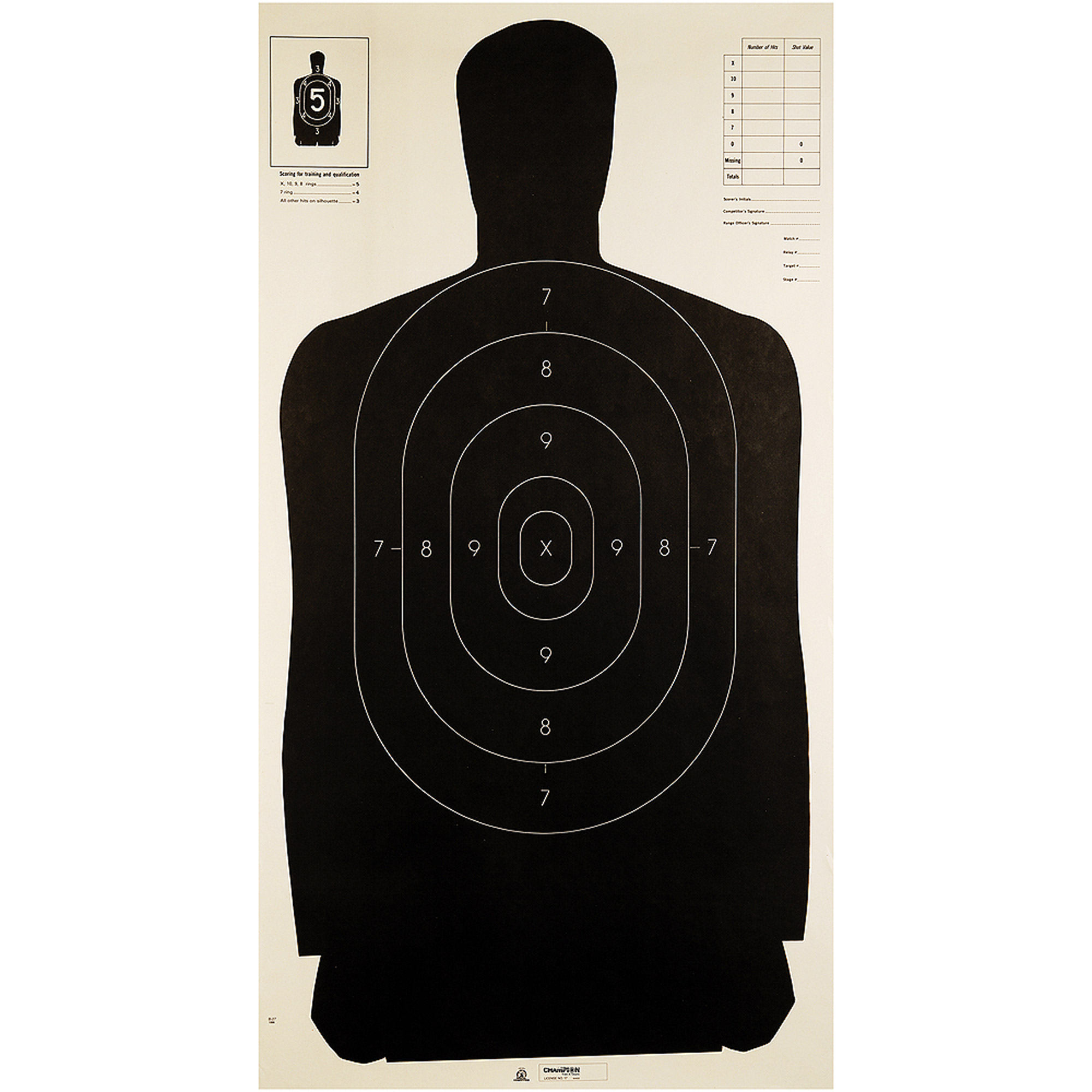 """Champion Traps and Targets Police Target, 24"""", X 45"""", Silhouette, 100pk"""