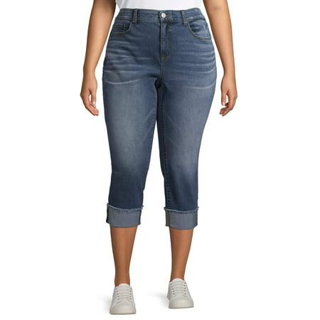 Terra & Sky Women's Plus Size Skinny Denim Capri with Roll Cuff