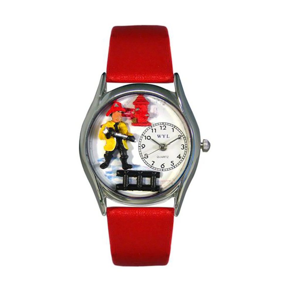 Whimsical Firefighter Black Leather And Silvertone Watch