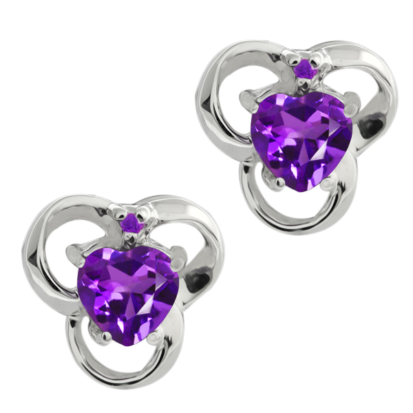 0.81 Ct Genuine Heart Shape Purple Amethyst Gemstone Sterling Silver Earrings