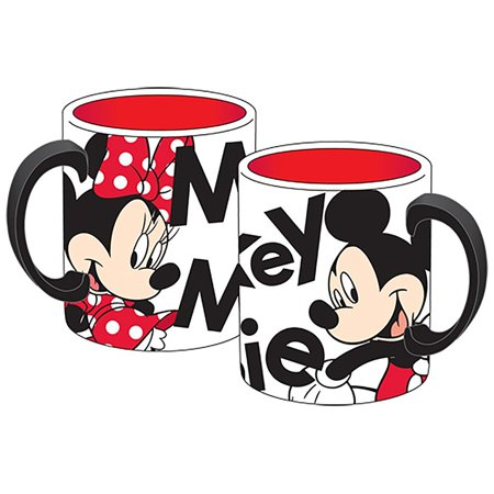 Mickey Mouse and Minnie Mouse Relief Sculpted Ceramic Mug - White Red Black
