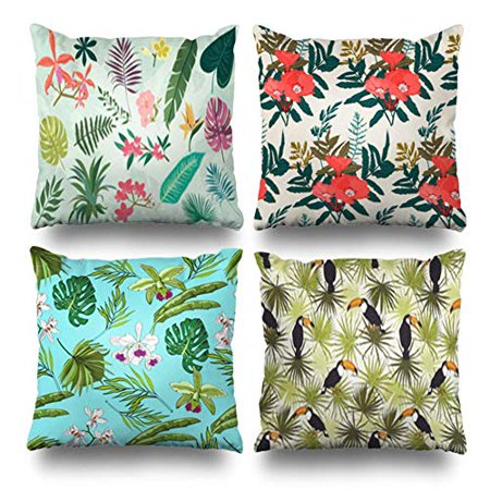 SUFAM Set of 4 Pillow Cases Tropicaltropical Palm Leaves Flowers Surfacewedding Invit Products Idyllic Throw Pillowcase Cover Cushion Case Home Decor 16x16 inch Paul Decorative Products 22 Inch