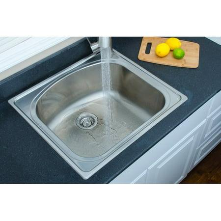 WELLS SINKWARE Chicago Series 25\'\' L x 22\'\' W D-shaped Topmount Kitchen Sink