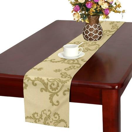MKHERT beige Table Runner for Kitchen Wedding Party Home Decor 14x72 inch (Beige Table Runner)