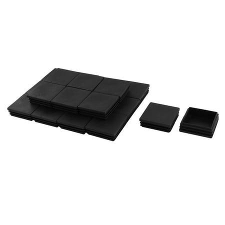 Plastic Square Table Chair Leg Feet Tube Insert End Cap Black 20pcs ()