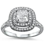 Noori Collection Noori 18k White Gold 1 3/8ct TDW Double Halo Princess-cut Diamond Ring