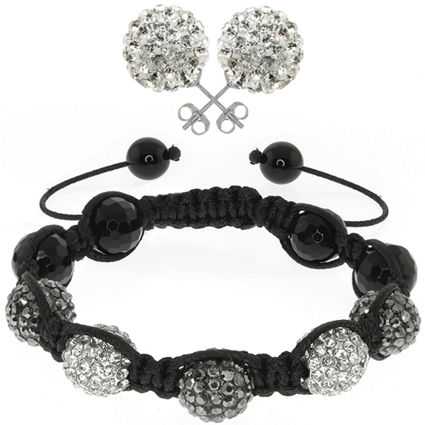 Black and White Pave Disco Ball Dia-Cut Adjustable Bracelet & 12mm Earrings Set
