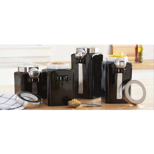 4-Piece Canister Set, Black