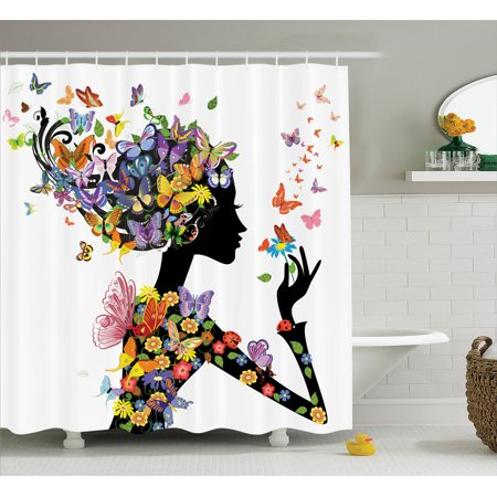 Butterflies Decoration Shower Curtain Set, Girl Fashion Flowers With Butterflies Ornamental Floral Foliage Nature Forest , Bathroom Accessories, 69W X 70L Inches, By Ambesonne - Butterfly Bathroom
