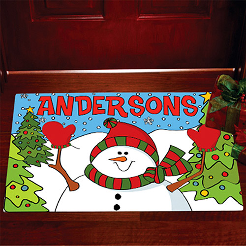 "Personalized Snowman Doormat, 17"" x 27"""