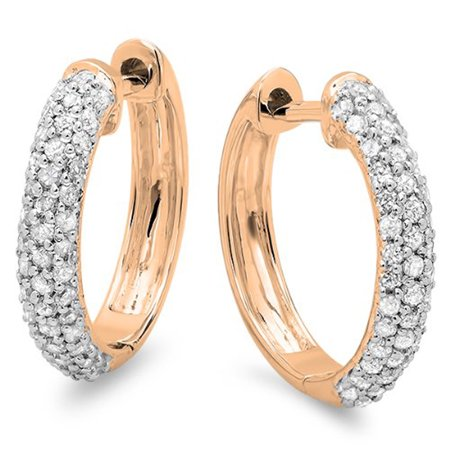 0.50 Carat (ctw) 14k Gold Round Diamond Ladies Pave Set Huggies Hoop Earrings 1/2 CT