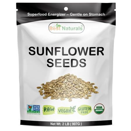 Best Naturals Certified Organic Hulled Sunflower Seeds 2 Pound - Raw - Vegan - Gluten Free - Non-gmo Project