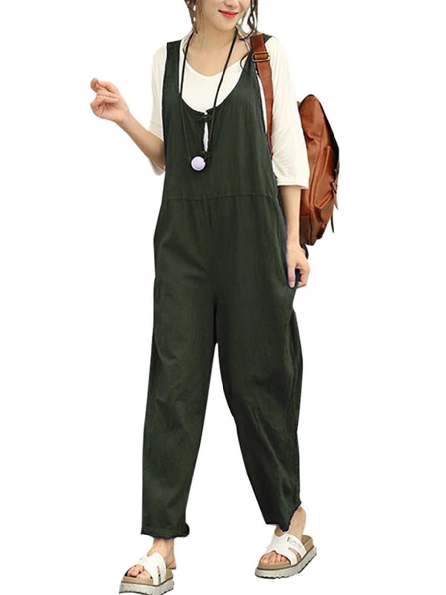 Women's Pants Fashion Solid Color Cotton Linen Jumpsuits
