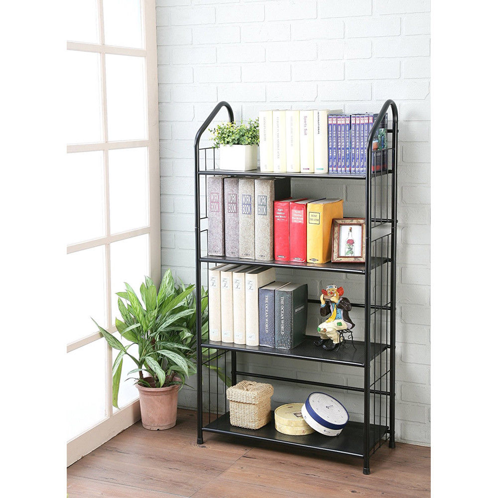 Ktaxon Plant Stand Bookcase Shelving Storage Tiered Plant Shelf Holder for Indoor Outdoor Use, Metal Frame, Black