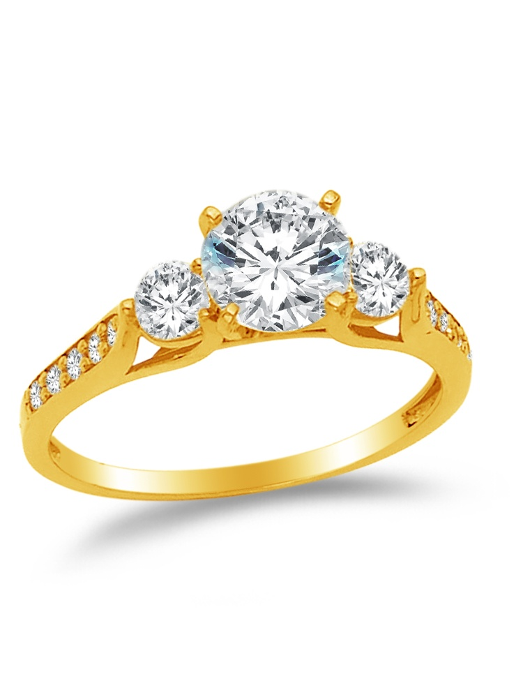 14K Solid Yellow Gold CZ Cubic Zirconia Three Stone Engagement Ring