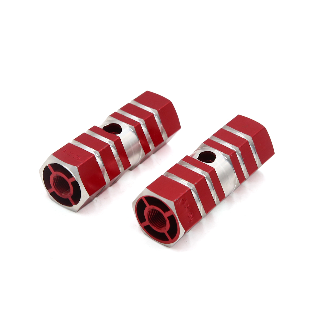 2Pcs 9mm Thread Dia Six Axle Bicycle Cycling Rear Stunt Foot Pegs Pedals Red