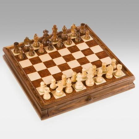 Walnut Staunton Chess & Checkers - Deluxe Walnut Chess Box