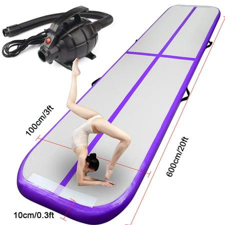 20ft/6m Purple Air Track Floor Home Inflatable Gymnastics Tumbling Mat GYM+Pump