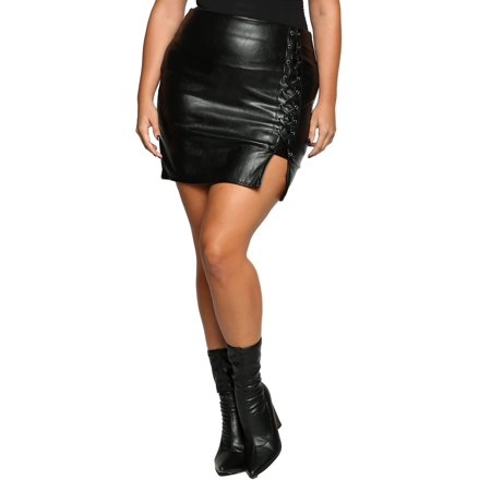 04fbf91382a Xehar Women's Plus Size Sexy Faux Leather Side Lace Up Mini Skirt