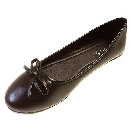 Black Sardonyx Flat - sH18es Womens Ballerina Ballet Flats Shoes Leopard & Solids 7, 8500 Brown
