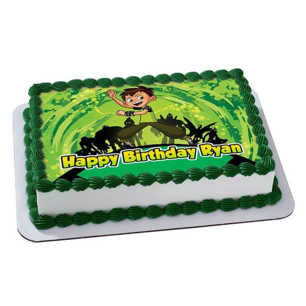 Fabulous Ben 10 Quarter Sheet Edible Photo Birthday Cake Topper Birthday Cards Printable Inklcafe Filternl
