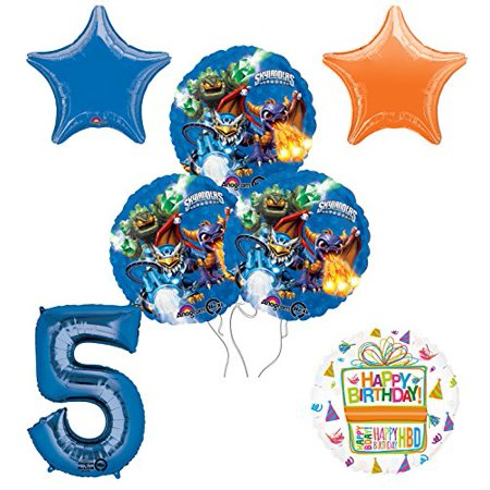 Skylanders 5th Birthday Party Supplies and Balloon Decoration Bouquet Kit - Skylanders Birthday Party