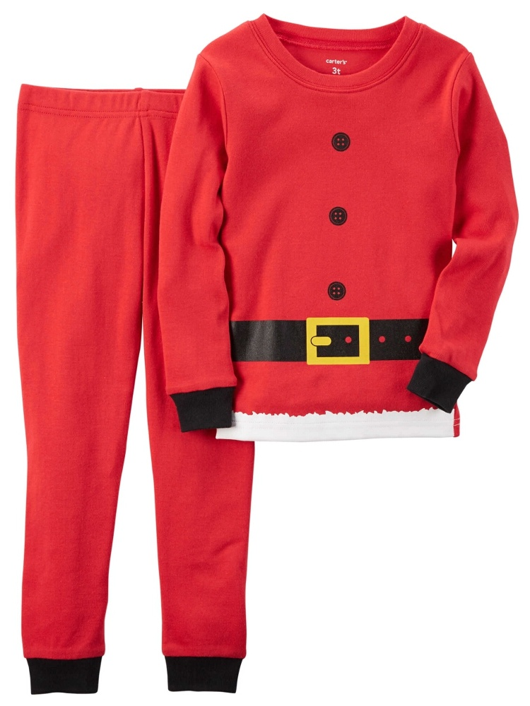 Carters Unisex Baby 2-Piece Snug Fit Cotton Santa Outfit Christmas PJs Red