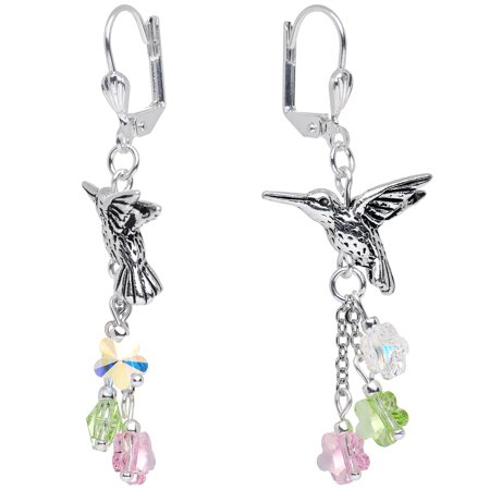 Body Candy Handcrafted Silver Plated Hummingbird Dangle Earrings Created with Swarovski Crystals