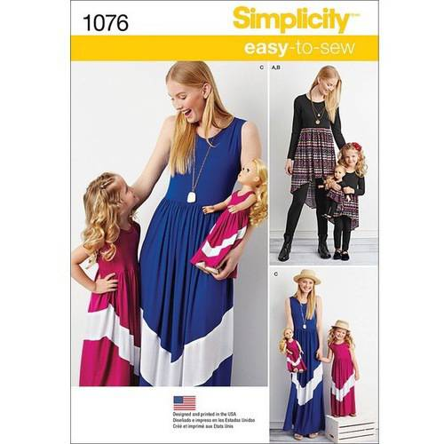 "Simplicity Child's and Misses' Maxi Dress & 18"" Doll Clothes, 3 - 8 /XS-XL"