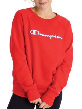 Champion Women's Powerblend Fleece Boyfriend Crew Neck Sweatshirt -Applique