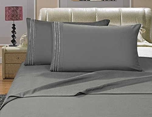 Full?4 Pieces?,Beige Plain Sanding Bed Sheets Polyester Soft Easy Care Bed Sheets Modern and Simple Wrinkle Free