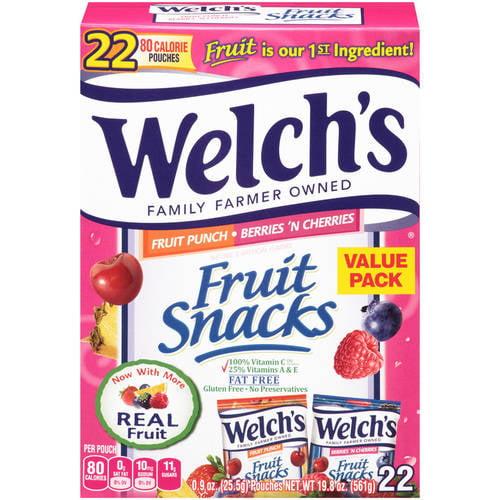 Welch's Fruit Snacks Fruit Punch and Berries 'n Cherries, .9 oz, 22 count
