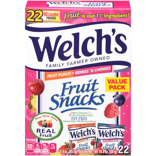Welch's Fruit Snacks Fruit Punch and Berries 'n Cherries, .9 oz, 22 count