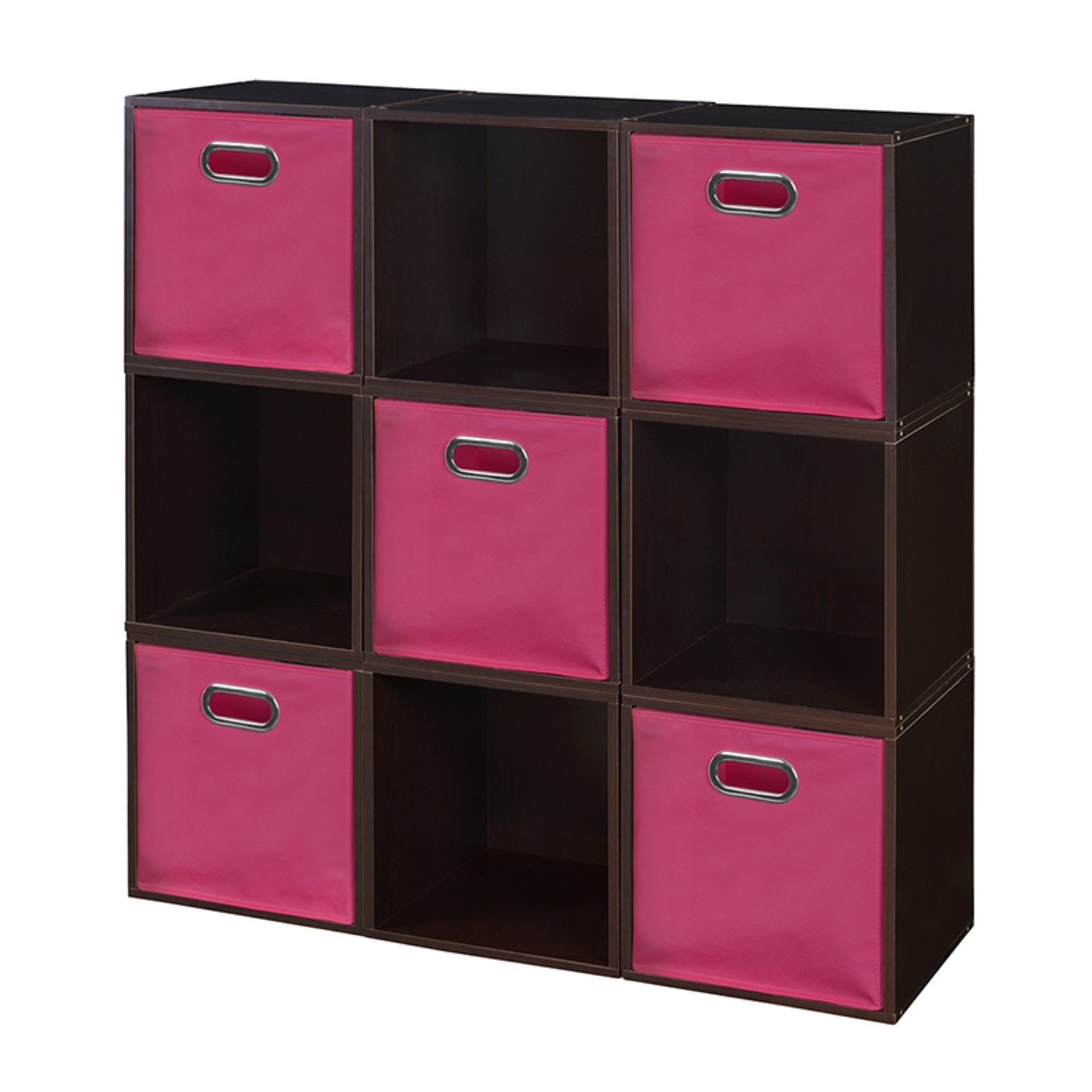 Regency Niche Cubo Storage Set, 9 Cubes and 5 Canvas Bins- Cherry/Natural