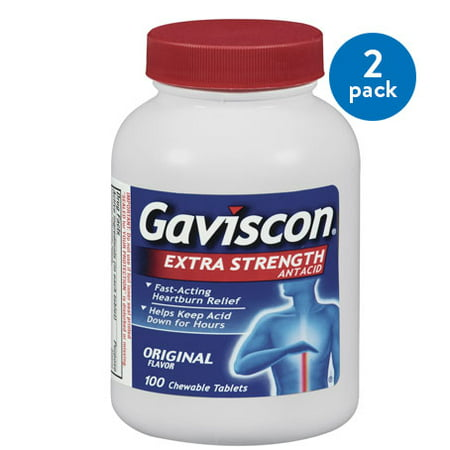 (2 Pack) Gaviscon Extra Strength Chewable Antacid Tablets, Original Flavor, 100 Ct ()