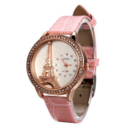 Aroncent Luxury Bling Rhinestone Accented Eiffel Tower Pink Leather Analog Quartz Wrist Watch For Girls Ladies Womens