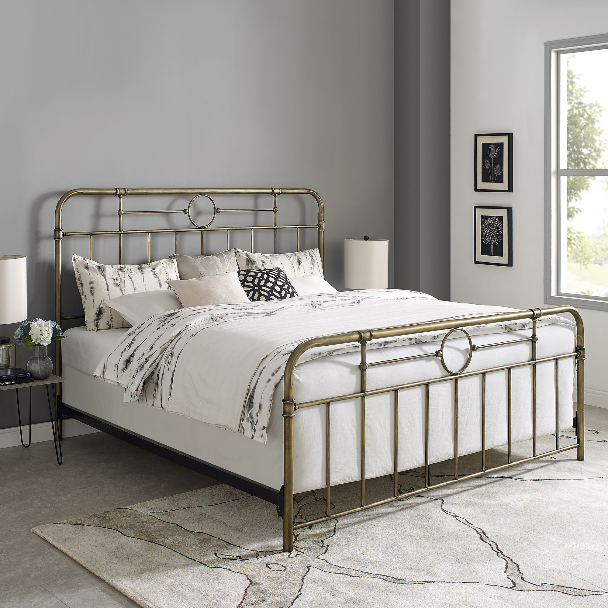 Manor Park Scarlett Boho Metal Pipe King Bed Bronze Walmart Com Walmart Com