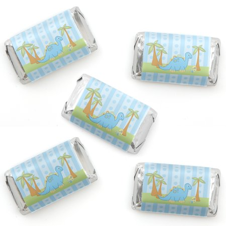 Baby Boy Dinosaur - Mini Candy Bar Wrapper Stickers - Baby Shower or Birthday Party Small Favors - 40 Count - Baby Boy Shower Party Favor Ideas