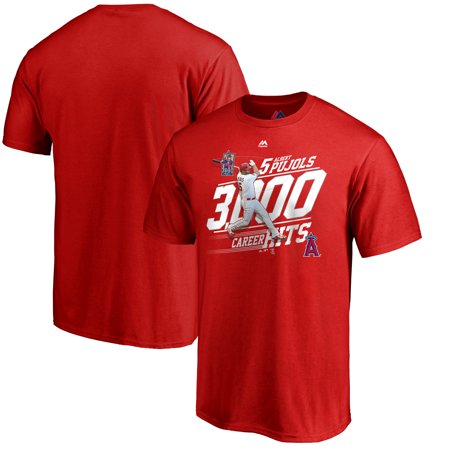Albert Pujols Los Angeles Angels Majestic Youth 3000th Hit Career Achievement Photo T-Shirt - Red (Los Angeles Photo)