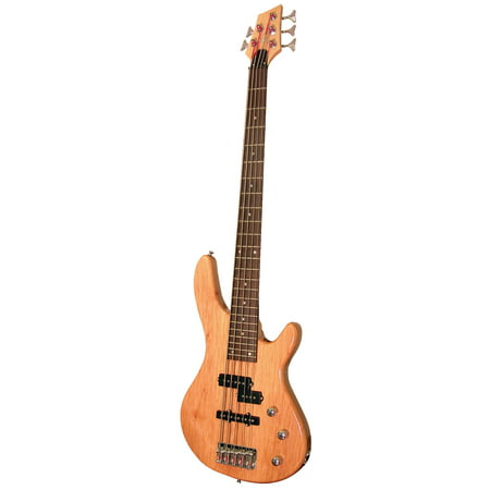 Kona KE5BN 5-String Electric Bass Guitar In Natural Gloss Wood Finish With Split Pickup And Custom Fit Tolex Case